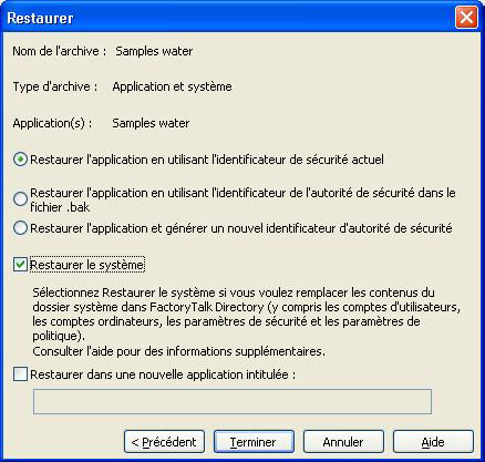 9 MISE À NIVEAU D'UNE APPLICATION FACTORYTALK VIEW SE OPÉRATIONNELLE Restauration des fichiers d'application 1.