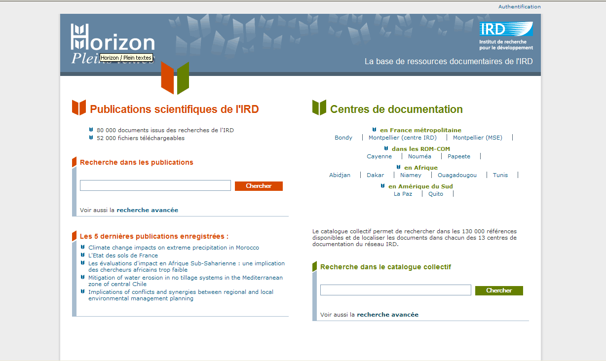 Une nouvelle interface Plus proche de l interface institutionnelle, Toujours sur www.documentation.ird.