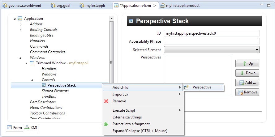 Figure 16: Ajout Perspective Stack Application.