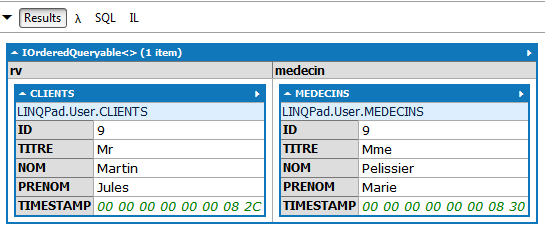 LINQ from creneau in CRENEAUXes select new hd=creneau.hdebut, md=creneau.mdebut, hf=creneau.hfin, mf=creneau.mfin, medecin=creneau.medecin Lambda SQL SELECT [t0].[hdebut] AS [hd], [t0].