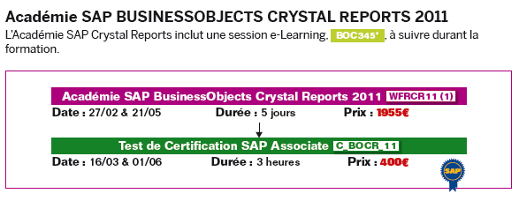 Académie SAP BusinessObjects Crystal Reports 2011 L Académie SAP BusinessObjects Crystal Reports 2011 est constituée par deux cours BOC310_96 et BOC320_96.