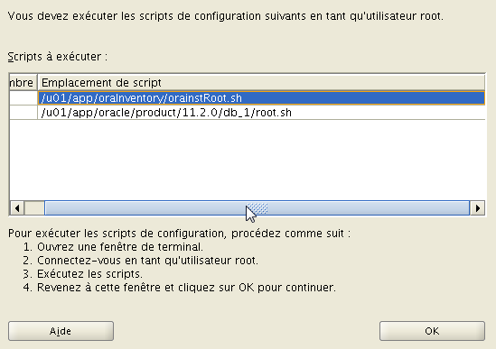 sh Modification des droits d'accã s de /u01/app/orainventory.