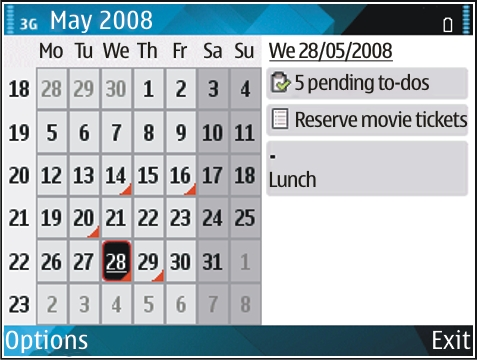 New from Eseries View calendar information In the month view, calendar entries are marked with a triangle. Anniversary entries are also marked with an exclamation mark.
