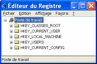 HKEY_CLASSES_ROOT : contient les informations relatives aux applications enregistrées (extensions de fichiers et applications liées, etc.