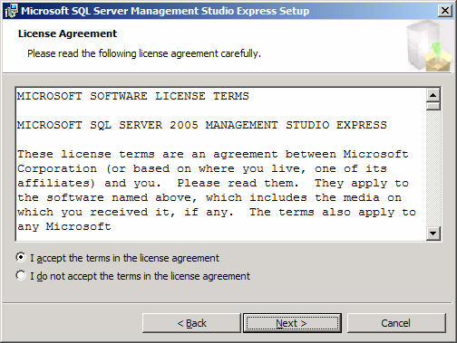 1.3.3. Installation de SQL Server Management Studio Express Cette étape décrit l'installation facultative de SQL Server Management Studio Express.