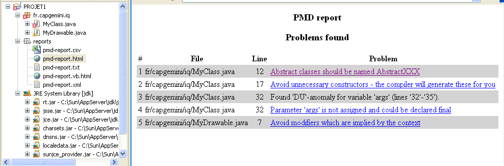 PMD RAPPORTS PMD Rapports au format HTML, CSV Rappel