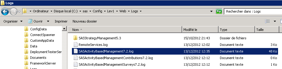 Applications logs Toutes les logs correspondant aux applications SAS sont disponibles sur le Mid Tier dans le répertoire <SAS-configuration-directory>\Lev1\Web\Logs\ Pour SAS Activity-Based