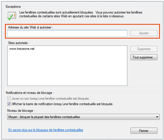 Se connecter trace one pdf for Bloqueur de fenetre publicitaire