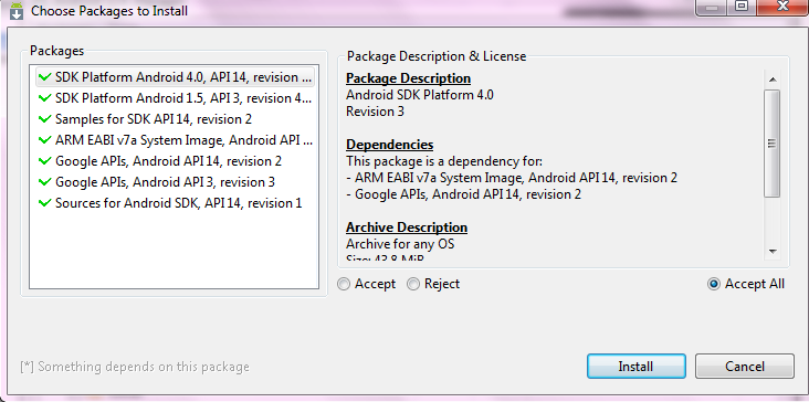 Figure2 : Installation des packages II.2. L Emulateur Android II.2.1.