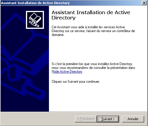 Figure 6 : Lancement de l assistant d installation d Active Directory L assistant d installation d Active Directory vous informe alors des restrictions sur les clients Windows 95 et Windows NT4
