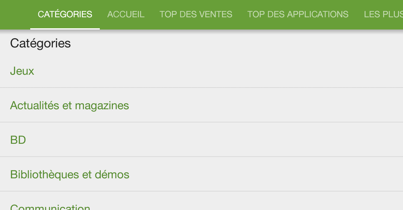 Classements par «tops» Classements par type d application Figure 5 : Capture d écran du Google Play Store Soyez d abord parmi les applications les plus téléchargées de votre catégorie pour ensuite