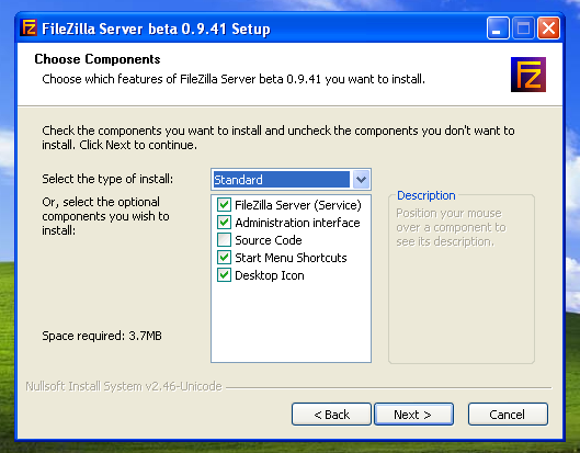 Filezilla Server L installation du serveur n est