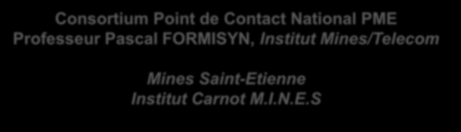 Consortium Point de Contact National PME Professeur Pascal FORMISYN, Institut