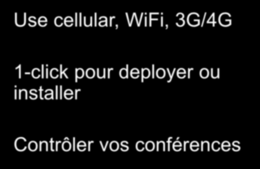 Avaya: une solution de collaboration complète Accès mobile n importe où IM/Presence Wi-Fi, 3G/4G Connectivity Visual Voice Mail Geo-Presence Conference Controls Callback Follow a user Use cellular,