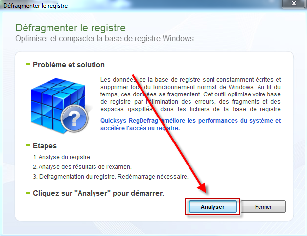 RegDefrag Passons maintenant à la défragmentation du Registre de Windows, attention ce logiciel est interdit en cas de SSD.