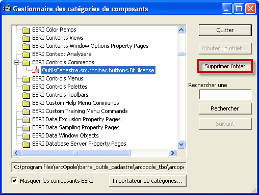 c. Supprimer les références à l ancienne barre d outils dans les categories d ArcGIS Démarrer l outil d ArcGIS suivant : C:\Program Files (x86)\arcgis\desktop10.0\bin\categories.