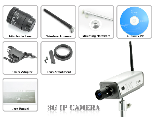 6 CAMERA IP WIFI 3G HTC D1 RESOLUTION DSP TECHNOLOGIE 1-3G Wireless IP Camera 1 - Power Adapter 1 - Mounting Hardware 1 - Attachable Lens 1 - Wireless Antenna 1 - Lens Attachment 1 - Software/Drivers