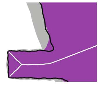 Figure 2.5: Image taken from [Katz and Pizer (2003)]. MAT instabilities: A tiny change in the boundary produces a large change in the MAT.