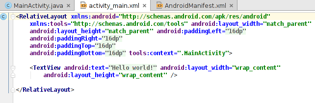 L hello world Android Positionnement des composants La construction de l UI se fait via un document XML Les composants s agencent