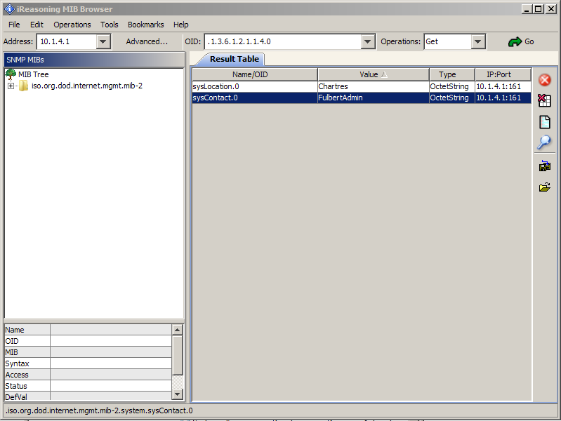 Maintenant tester sous Mib browser les variables suivantes : - SysLocation - SysContact