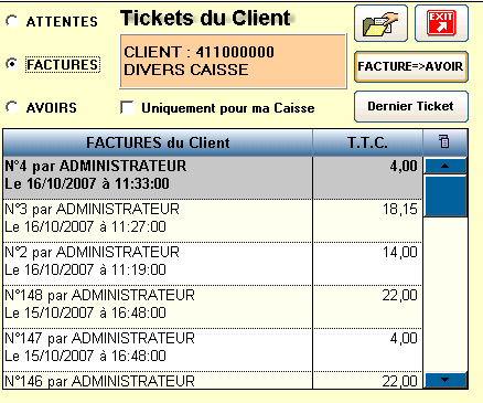 Possibilité de Rappeler le Ticket suivant le Code Barre sur le Ticket Impression des Chèques en Euros Rappel Tickets-Factures-Avoirs Fonction de Modification du Prix de Vente de l Article Fonction de