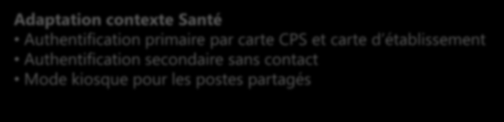 Adaptation contexte Santé Authentification primaire par carte CPS et carte d établissement Authentification secondaire sans contact Mode kiosque pour les postes partagés Socle technique (SSO) Single