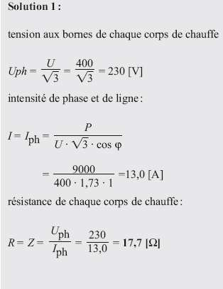 impédance : Z = (R et Φ = 0 ) tension de phase : U ph = U / 3 = 120 / 3 = 69,4 [V] Intensité de ligne : I = Iph= U ph /Z = 69,4 / 25 = 2,78 [Α]