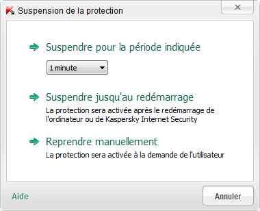 R E S O L U T I O N D E S P R O B L E M E S T Y P E S SUSPENSION ET RESTAURATION DE LA PROTECTION DE L'ORDINATEUR La suspension de la protection signifie la désactivation de tous ses modules pour un