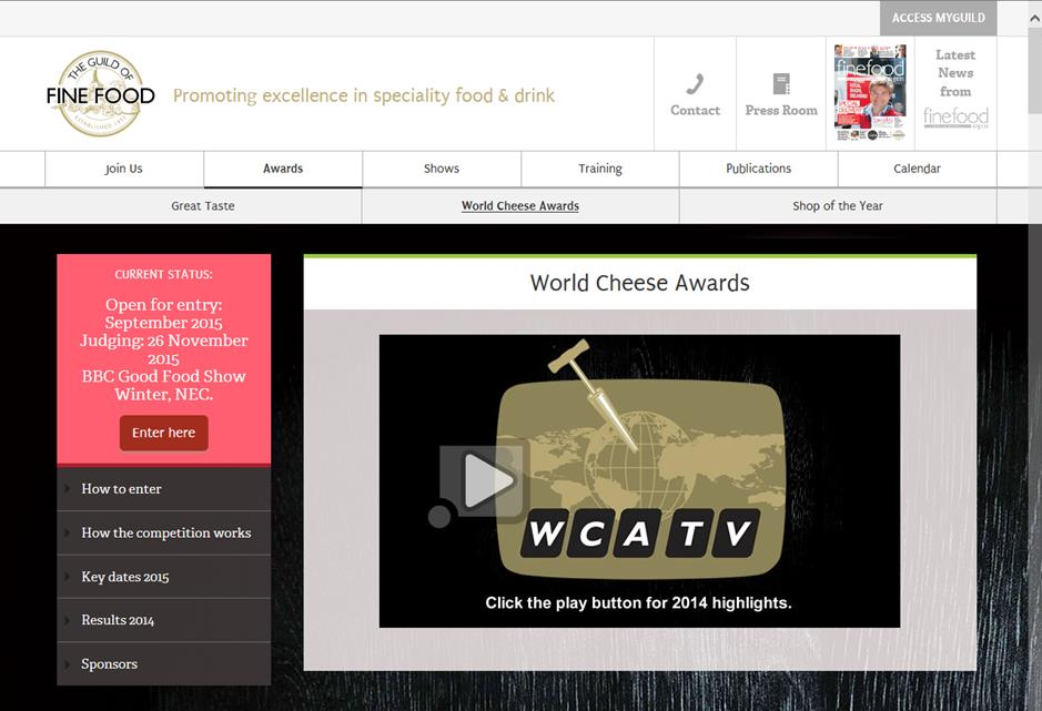 INSCRIPTIONS POUR LE WORLD CHEESE AWARDS 2015 INSTRUCTIONS EN LIGNE Allez sur www.gff.co.