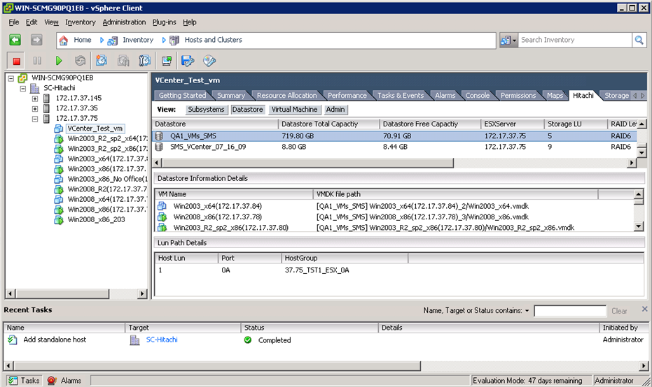 HITACHI STORAGE MANAGER pour VMware NEWS
