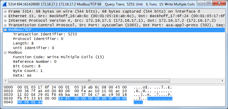 Exercice - Capture Wireshark et analyse (question) Capture Wireshark Taille : Contenu : 2 2 2 1 1 Transaction Protocol Length Unit ID Function Identifier Identifier Field Code 5253 0 8 0 15 2 2 6?