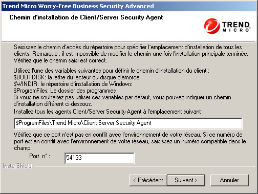 Trend Micro Worry-Free Business Security Advanced 6.0 Guide d'installation FIGURE 3-22.