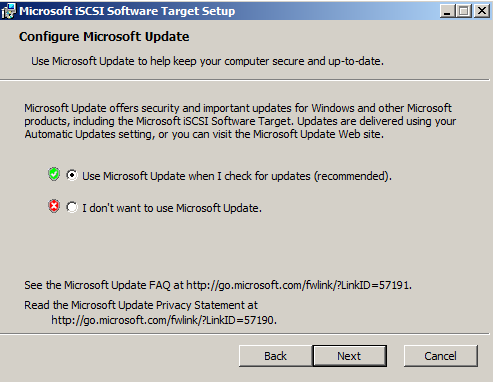 Cochez «Use Microsoft update»