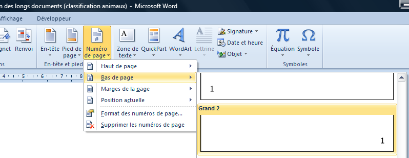 6 Gestion des longs documents COMMENT AJOUTER UNE PAGINATION? Paginer un document consiste à numéroter automatiquement les pages de ce document.