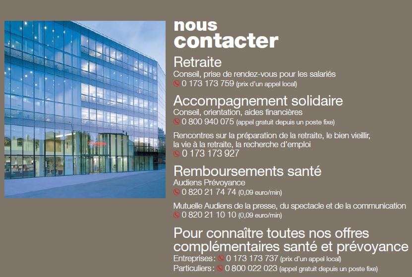 7. Nous contacter Groupe Audiens 74 rue