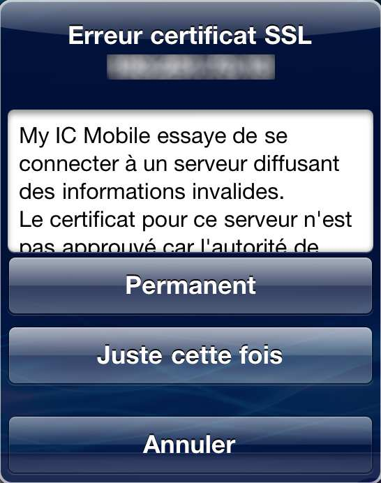 2.3 Installation et configuration de My IC Mobile 7 Télécharger l'application My IC Mobile à partir d' Apple Store Installer et démarrer l'application Lors du premier démarrage, entrer les paramètres