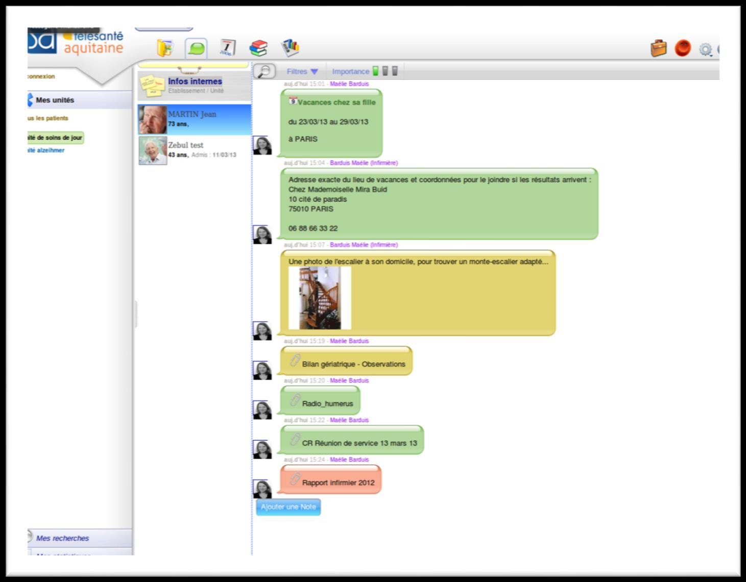 La communication PAR SECTEURS LISTE PATIENTS CHAT