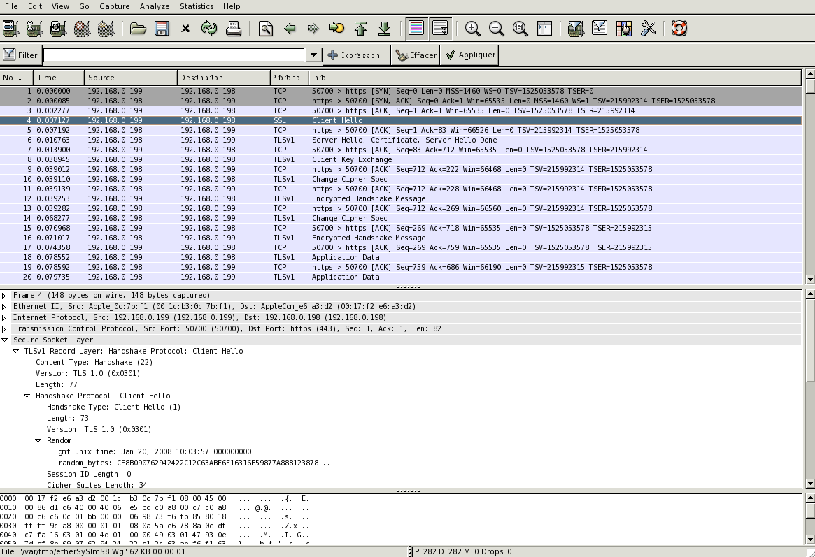Fig. 5 Logiciel de capture de paquet Wireshark, communication client-serveur sans authentification du client.