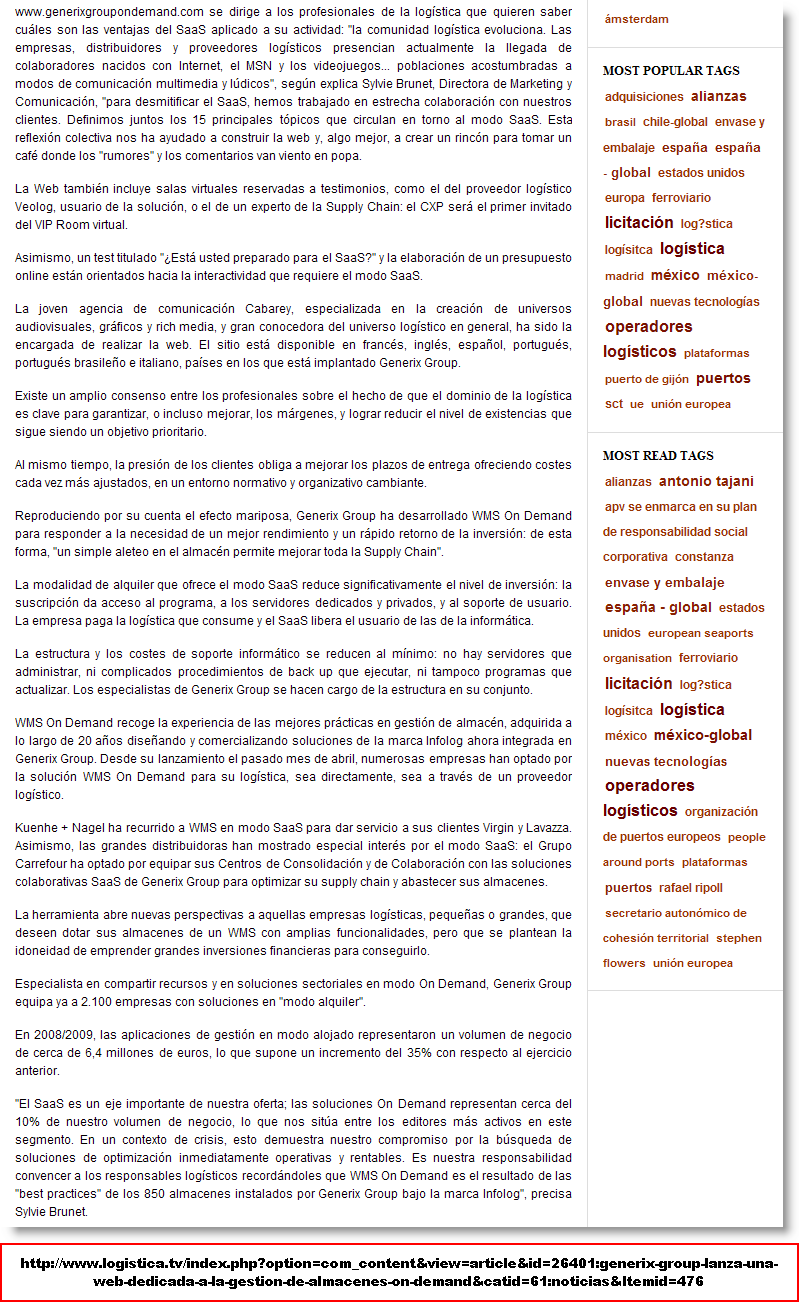 Bureau de presse Pôle Communication Presse UBIFRANCE Espagne Date de parution 11/12/2009 Nom du support SITES WEB