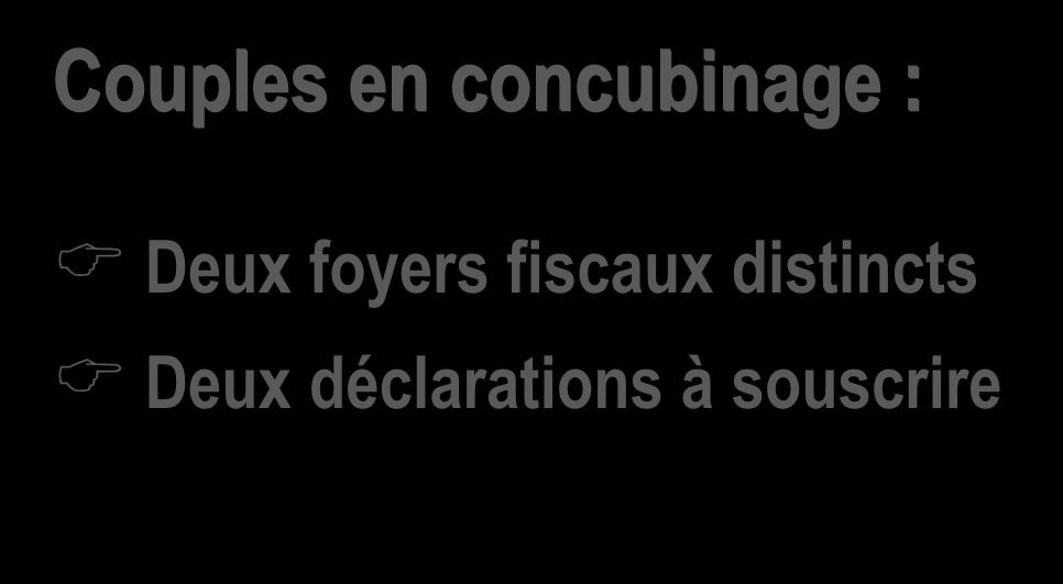Notion de foyer fiscal Couples en concubinage : Deux