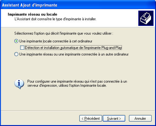 9 2. Configuration des postes clients exemple de configuration de l imprimante HP Deskjet 930C sous Windows XP Menu Démarrer > Paneau de configuration > imprimantes Détail de la