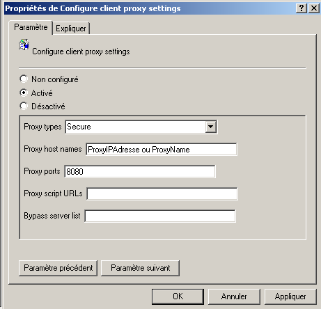 "2.2 Configuration en Mode Secure Définition : Proxy type: SecureWhen ""Secure"" is selected, the client will contact the proxy identified by the ""Proxy host names"" and ""Proxy ports"" settings."