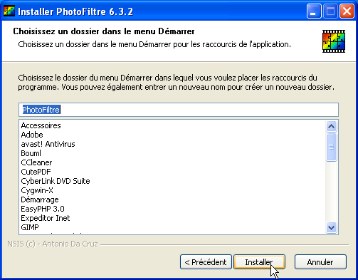 1. Installer PhotoFiltre Figure 4 : Cliquez sur Installer Figure 5