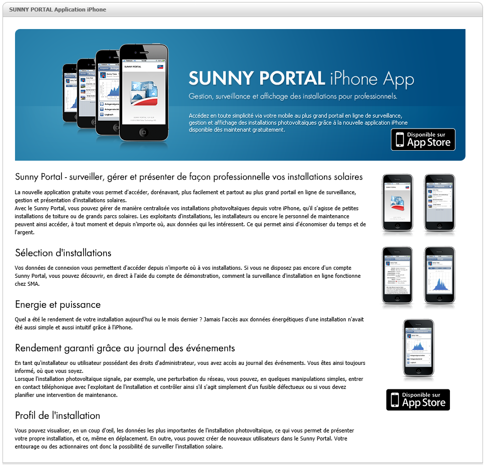 Application Sunny Portal