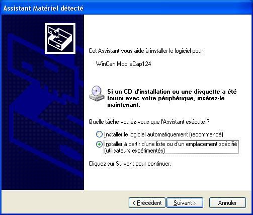 Configuration du pilote (Windows XP) Attendez le prochain point d'installation du pilote.