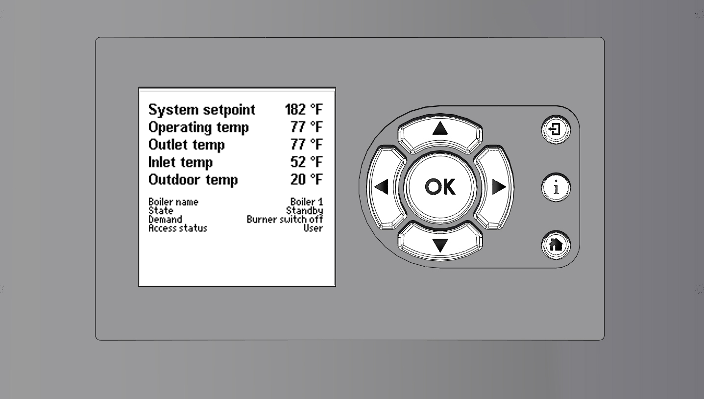 Page 6 LAARS Heating Systems THE USER INTERFACE AND ON/OFF SWITCH On/Off switch User Interface (HMI) The NeoTherm has two control components: the User Interface or HMI ( Human/ Machine Interface ).