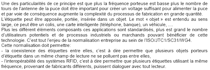 ÉTIQUETTE RFID - PRINCIPE d'après: E P C 2004-032 - RFID Principes et Applications E P C global France Doc :