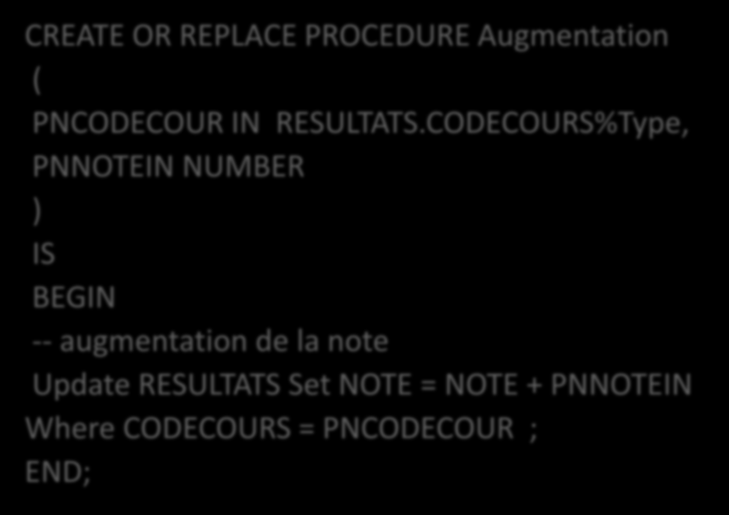 Exemple CREATE OR REPLACE PROCEDURE Augmentation ( PNCODECOUR IN RESULTATS.