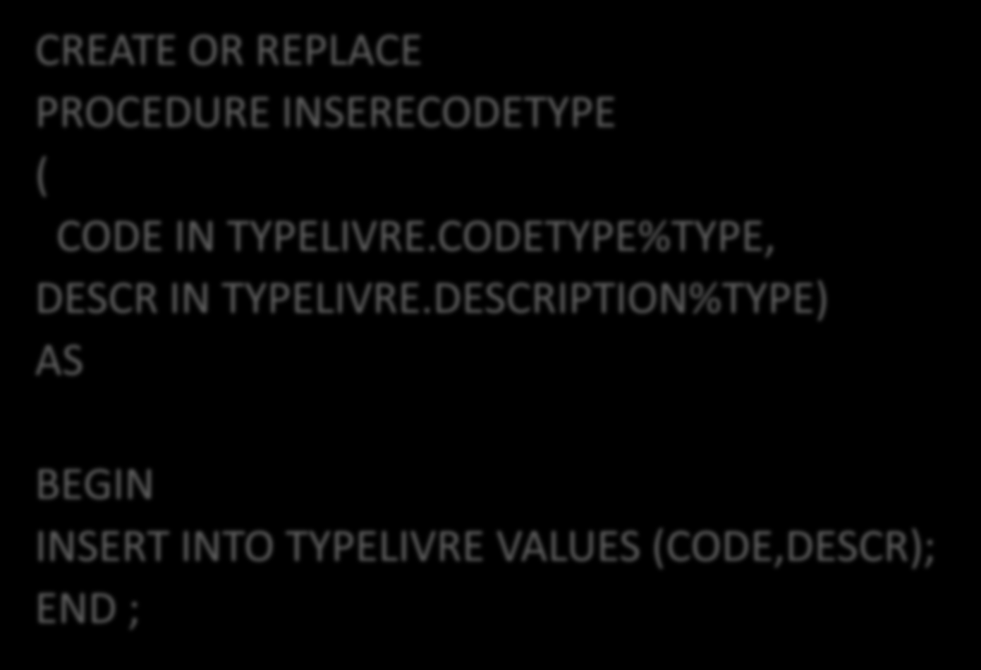 Réponse CREATE OR REPLACE PROCEDURE INSERECODETYPE ( CODE IN TYPELIVRE.