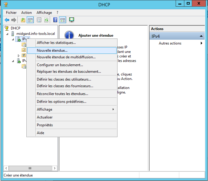 Configuration DHCP Outils -> DHCP Ajouter